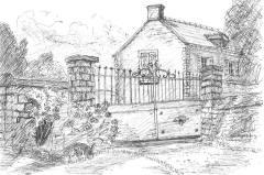 Merville House - through the gates - gel pen A4